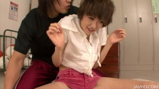 Flexible asian teen Akina Hara gets undressed in locker room
