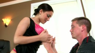 Lascivious babe Gabriella Paltrova sucks dick of skinny Lucas Knight
