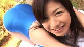 Well shaped Japanese girl Chieri Taneda outdoor