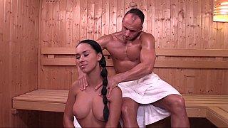 Czech girl Victoria Sweet in sauna
