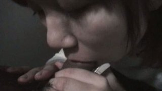 Amateur chick Riho Mishima giving blowjob in the public restroom
