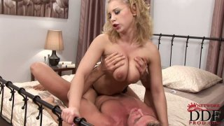Lithe spunked blondie provides a cock with a titfuck and blowjob