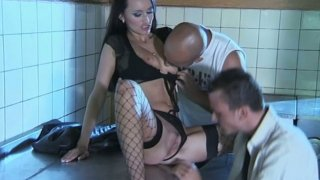 Rapacious brunette Claudia Adams gonna suck two dicks in dirty kitchen
