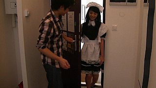 Brunette maid & Japanese guy