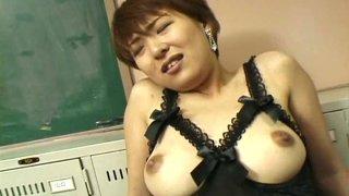 Salty Japanese bimboy Eko Mochizuki gets her clit mauled hard