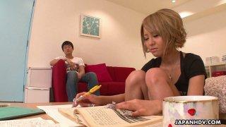 Cute Japanese girlfriend Yuri Kurosaki gives a yum-yum blowjob to her Bf