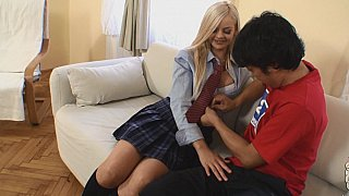 Blonde schoolgirl licked by a Japanese dude