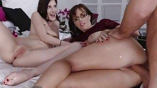 Nina shared her bfs cock with mom Alana