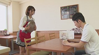 Japanese waitress is sucking customer's cock