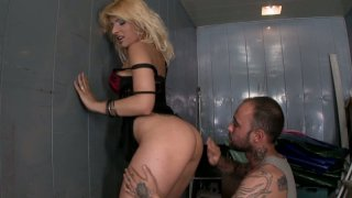 Dick hardening scene with dirty blonde whore Ivory Bell