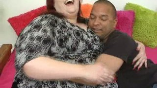 Morbidly fat redhead hooker Demissis sucks big black cock