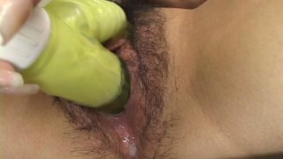 Rubbish Japanese whore Sanae Miyama sucks the dildo and masturbates with it