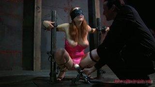 Blindfolded girl Ashley Graham is tortured with vibrator