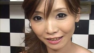 Skinny Japanese milf Yui Natsuki blows small furry prick