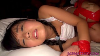Tiny Japanese babes tied up and fucked by two dude