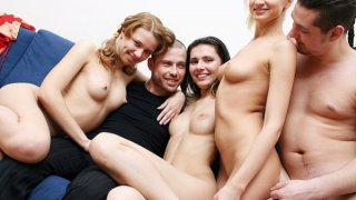 Sex-hungry blonde babe enjoys hot college orgy