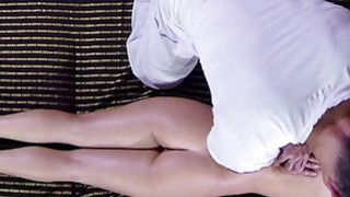 Hot oiled blonde rides cock after erotic massage