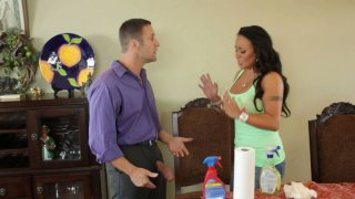 Brunette maid Mariah Milano gives awesome blowjob