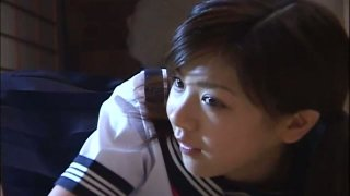 Cute Japanese teen Aki Hoshino loves sports and orange panties
