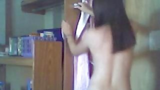 Dancing and fingering live on home webcam